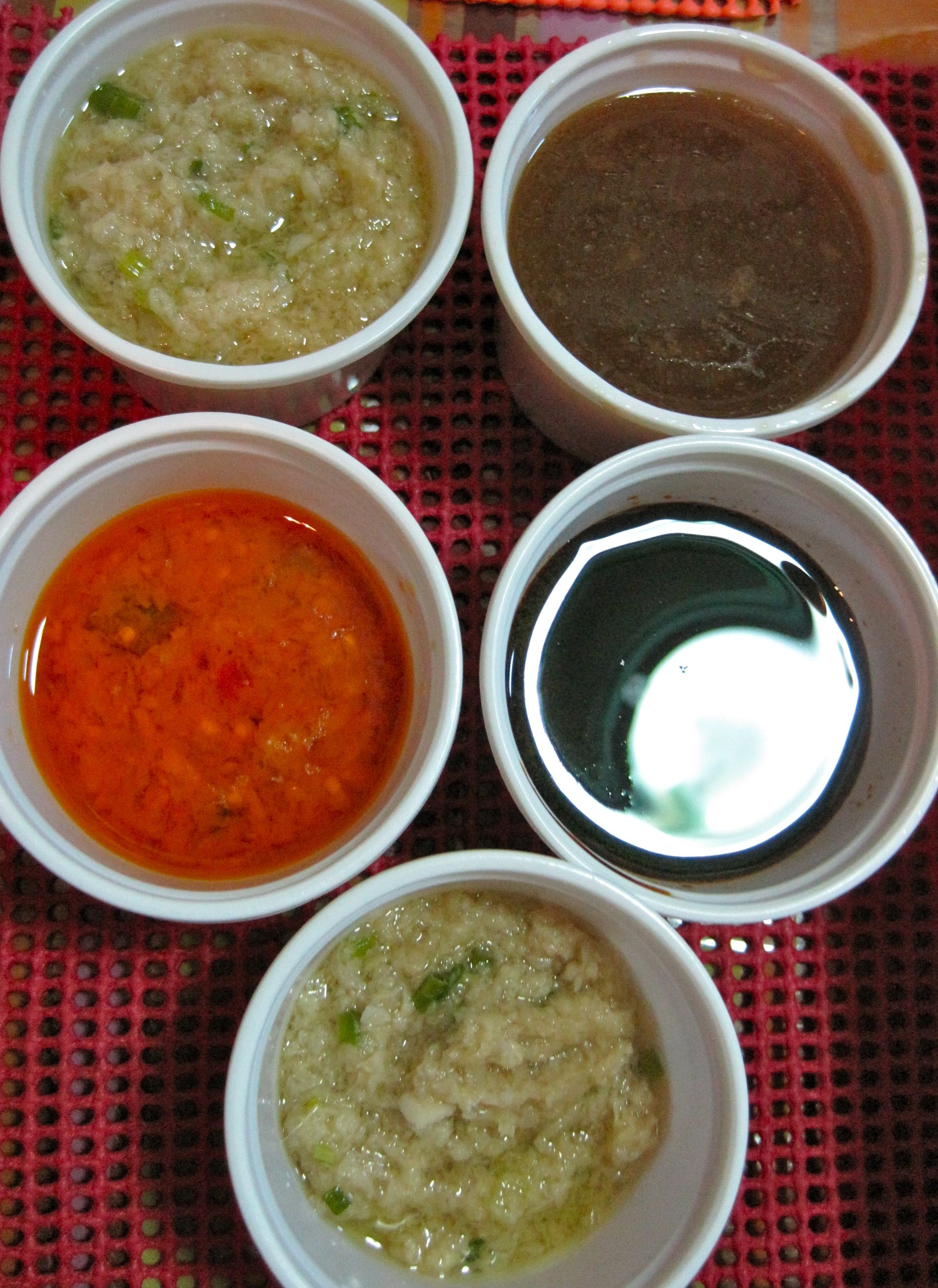 It Came With These Sauces Ginger Chili Sweet Soy And Topping Sauces Hainanese Rice